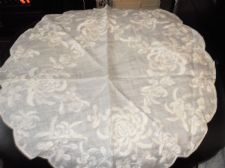 "ANTIQUE WHITE SILK TABLE PROTECTOR CLOTH SATIN EMBROIDERY CHRYSANTHEMUMS 20"" DIA"